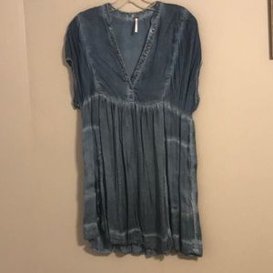 Free People Satin Denim Top